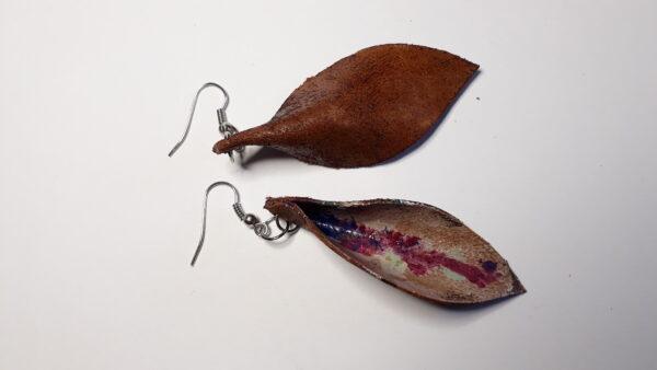 Orecchini foglia artigianali