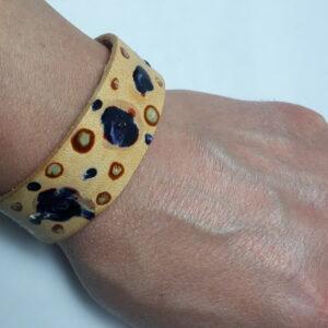 bracciale cuoio decorato a mano